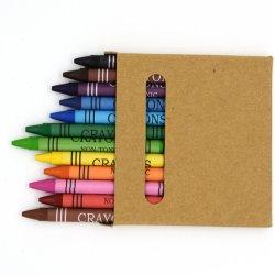 クラフト紙ボックスの無毒な安全文房具の芸術のペンキそしてデッサンの多彩な丸型膚触りがよい12 PCSのワックスクレヨン