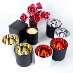 حامل شمعة زجاجية أسود فاخر مخصص 16 أونصة مع طلاء كهربائي ذهبي