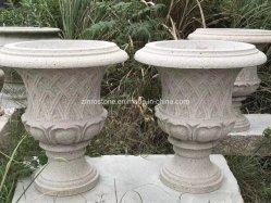 Granit naturel sculpture en pierre sculptée de marbre du semoir Pot de fleurs pour la décoration de jardin en plein air