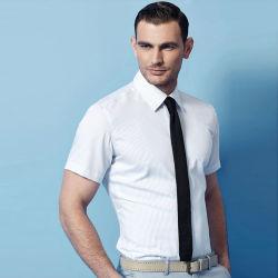 Новая торговая марка мужчин сплошным цветом тонкий установите короткие рукава рубашки и платья для бизнеса