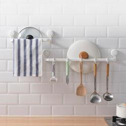 Ventosa Gancho Suporte de Suspensão do Trilho de Rack Toalha de banho privada com toalhas bares para montagem na parede Rack de Banho