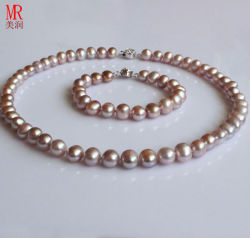 8-9mm Lavender Nearly Round Freshwater Pearl Necklace Set