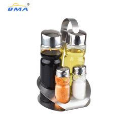 5 ПК на базе набора Cruet стекла из нержавеющей стали с держателем, дозирования масла Соль и теплый набор Condiment вибрационного сита