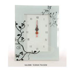 RoHS Reloj de pared de vidrio con flor impresa