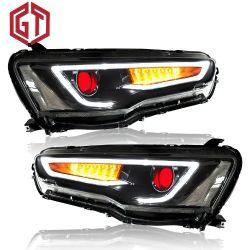 Para o Mitsubishi Lancer Evo X 2008-2017 Carro LED do Conjunto do Farol HID Xenônio da Sinaleira Direcional DRL lentes do projetor
