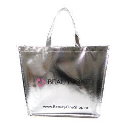 Non tissé sac métallique, commerce de gros réutilisables laminé écologique durable Promotion Spunbond recyclables supermarché Vêtements d'emballage cadeau Shopping sac fourre-tout