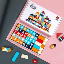 2020 Großhandelsverkaufs-erstklassige hölzerne Baustein-eingestellte - PC 100 für 3 Jahre alte Kind-- klassische Hartholz-Ebene u. farbige kleine hölzerner Block-Stücke für Kinder