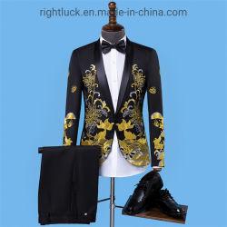 Moda masculina de bordar noite vestir calças Blazer Casaco Smoking Vest e Suits