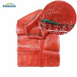 Embalagens embalagens de plástico PP lenha malha gaze saco com cordão ajustável