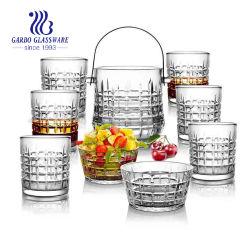 고품질 9PCS 유리제 얼음 양동이는 6PCS 유리제 공이치기용수철 및 2 유리 그릇으로 놓았다 (GB27028JC)