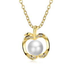 925 Silver & CZ Apple Design Pearl Necklace Bisutería Joyería