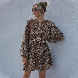 여성 의류 파티 여성 패션 드레스 래파드 프린트 퍼프 슬리브 여성용 드레스