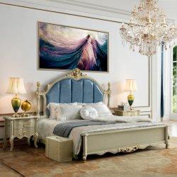 Usine de meubles antiques de gros chambre à coucher avec lit en bois et une penderie