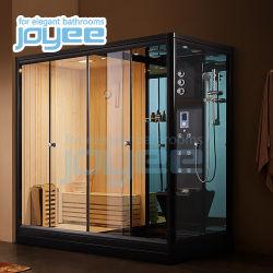 Joyee 2 personne bon marché intérieur en bois en fibre de verre Sauna Bain de vapeur humide cabine de douche Jacuzzi Sauna Salle de douche à vapeur
