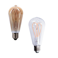 Chino Fabricante ST64 LED espiral lámpara de filamento con CE RoHS
