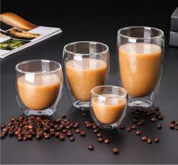 Hot Vente de Cadeaux Amazon en verre borosilicaté clair à double paroi en verre de bière tasse de café tasse de thé