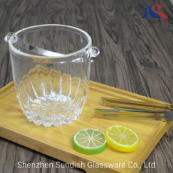 benne di vino di vetro della benna di ghiaccio 0.8L con la maniglia dell'acciaio inossidabile