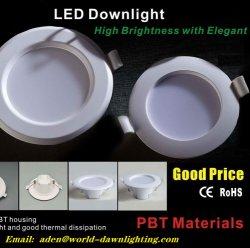 Alta qualidade 4W 6W montagem embutida no tecto 120 graus do feixe de luz economia preço bom alojamento de PBT baixar as luzes de LED com 2 anos de garantia