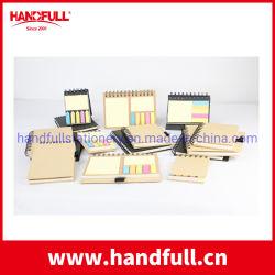 Stootkussen van het Memorandum van de Nota's Eco+Friendly van het Embleem van de douane het Kleverige met Lijm met de Houder van de Pen