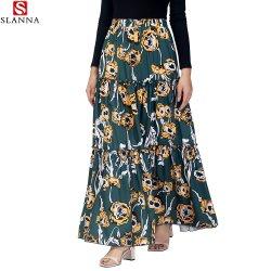 Blumendruck-hohe elastische Taille faltete Dame-Fußleisten-Frauen-Kleidung