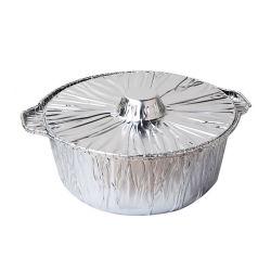 Pot rond jetable en aluminium avec couvercle