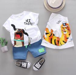 Los niños Ropa de verano informal del niño bebé de algodón de dibujos animados Pullover Camiseta de manga corta traje de moda