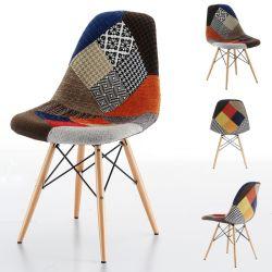 Salle de séjour à l'intérieur de la sellerie prix d'usine Dsw Café moderne cuisine Patchwork Parti de jeu chaise Eames Eiffel jambe de bois Dar chaises Tissu nordique