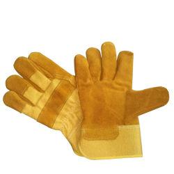 De gele Werkende Handschoenen van de Veiligheid van het Leer van de Koe Gespleten