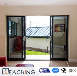 Deux voies Quatre panneaux profil aluminium coulissante de porte en verre avec une bonne qualité