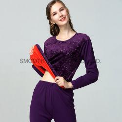 Mesdames sous-vêtement thermique gaufré vêtements automne hiver épaississement costume Slim