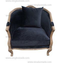 Design antigo estilo rústico de Cera de Móveis Brown da estrutura de carvalho preto/bege/cinzento Velvet Almofadas de tecido Sofá-Cama