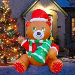 albero di Natale sveglio gonfiabile della holding dell'orso dell'orsacchiotto di 6FT con l'indicatore luminoso interno del LED