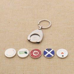 Catena chiave personalizzata del metallo del carrello della moneta del supporto di acquisto del carrello della moneta all'ingrosso del carrello