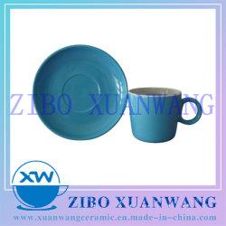 Tasse en céramique émaillée bleue et la plaque chaude jeu de la vente de Café Tasse et soucoupe défini
