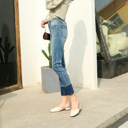 Низкая MOQ пользовательские моды Одежда повседневная брюки женщин джинсы