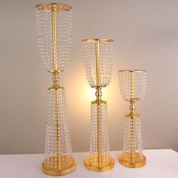 Placage métallique élégant&Perles en cristal de plomb de la route Décoration de table de mariage pièces maîtresses de l'allée
