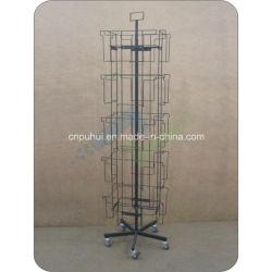 床の立場の鋼鉄鉄棒フレームの小型の回転カレンダマガジン表示(pH16-393)