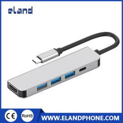 قاعدة توصيل من النوع C إلى HDMI بدقة 4K 5 في 1 HUD للهاتف المحمول USB 3.1 من النوع C إلى USB3.0 Hub + USB-C PD+HDMI