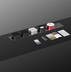 Prise murale en aluminium voie orbitale intégré de l'UE Rail d'alimentation modulaire mobile Système de branchement électrique de bureau avec port USB du panneau de sortie