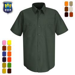 人の実用的で短い袖の多綿のあや織り作業ワイシャツ