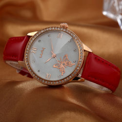 ODM van het Horloge van de bevordering het Horloge van de Dames van de Kwart gallons van de Riem van het Leer (wy-054D)