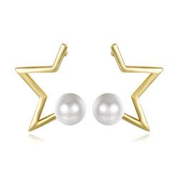 Diseño de moda mujer mujeres aretes de oro Perla Bisutería