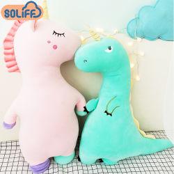 Los juguetes de peluche suave personalizadas bebé dinosaurio de juguete de peluche Unicornio animal de cuerpo completo almohada