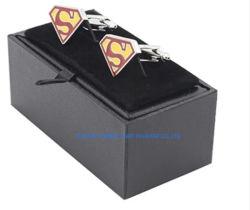 고급 블랙 가죽 커프링크 박스 슈트 커프링크 박스, 고품질 맞춤형 도매 공장 직판