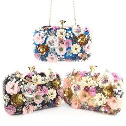 2021 moda señoras de lujo hechos a mano con reborde de la flor de la bolsa de Boda