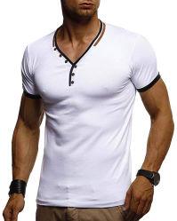 남자의 적당 V 목 t-셔츠 고리 단추 바느질 t-셔츠 옷