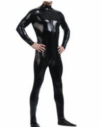 Lycra metálico Bodysuit Zentai Sem Capô (PRETO)