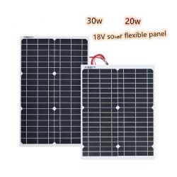 30W 20W 18V 12V Painéis Painel Solar Flexível Sunpower Módulo de Células Solares DC para aluguer de iates de luz LED ap 12V Bateria Carregador externo de barco
