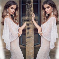 Col V longue robe de soirée jamais assez Chiffon Ruffles fête de mariage robes robe de perlage Prom