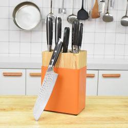 7 PCS alemão de aço inoxidável da faca de cozinha Definir Pakka Pega de madeira com blocos de madeira forjar Cleaver Santoku Fatiar Facas de emparelhamento